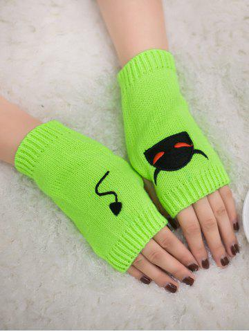 Unique Halloween Devil Embroidery Exposed Finger Knitted Gloves - FLUORESCENT YELLOW  Mobile