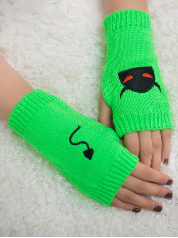 Shop Halloween Devil Embroidery Exposed Finger Knitted Gloves - NEON GREEN  Mobile