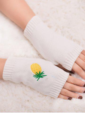 Chic Halloween Pineapple Embroidery Exposed Finger Knitted Gloves - WHITE  Mobile