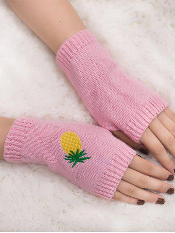 Outfit Halloween Pineapple Embroidery Exposed Finger Knitted Gloves - PINK  Mobile
