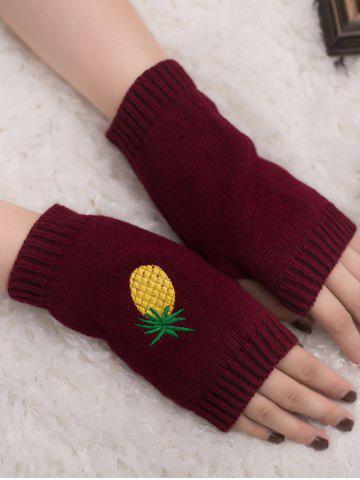 Affordable Halloween Pineapple Embroidery Exposed Finger Knitted Gloves