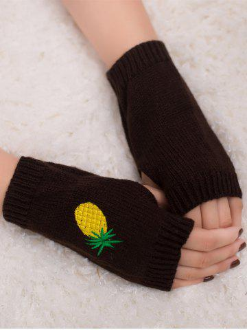 Affordable Halloween Pineapple Embroidery Exposed Finger Knitted Gloves COFFEE