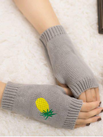 Online Halloween Pineapple Embroidery Exposed Finger Knitted Gloves LIGHT GRAY