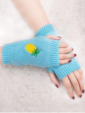 Unique Halloween Pineapple Embroidery Exposed Finger Knitted Gloves
