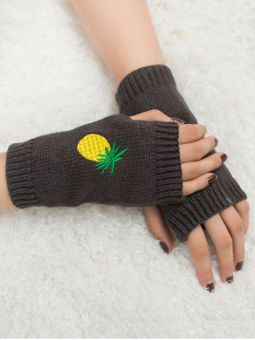 New Halloween Pineapple Embroidery Exposed Finger Knitted Gloves