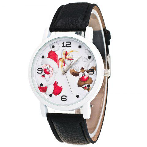 Trendy Christmas Santa Deer Face Quartz Watch - BLACK  Mobile