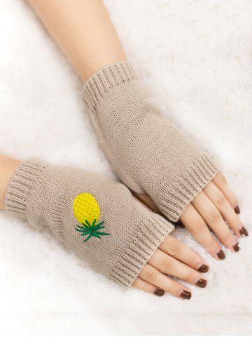 Shop Halloween Pineapple Embroidery Exposed Finger Knitted Gloves BEIGE