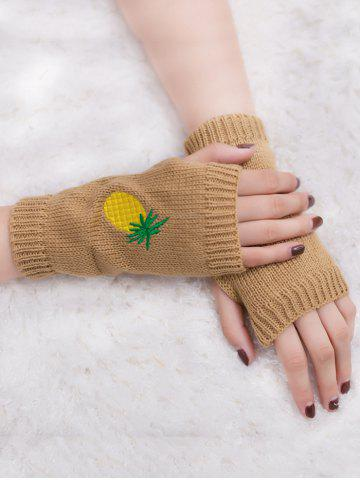 Outfits Halloween Pineapple Embroidery Exposed Finger Knitted Gloves - CAMEL  Mobile