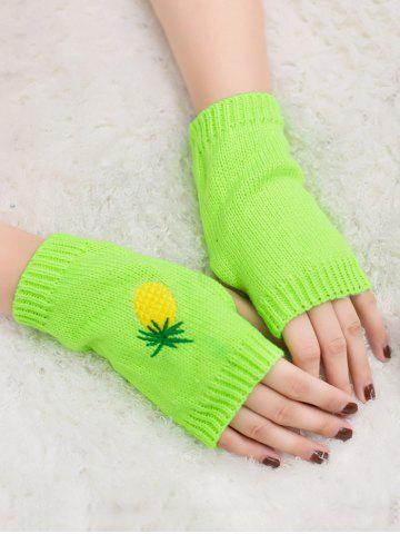 Affordable Halloween Pineapple Embroidery Exposed Finger Knitted Gloves FLUORESCENT YELLOW