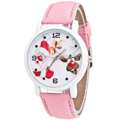 Hot Christmas Santa Deer Face Quartz Watch PINK