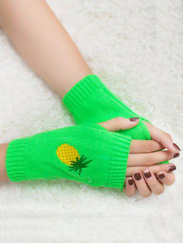 Fancy Halloween Pineapple Embroidery Exposed Finger Knitted Gloves NEON GREEN
