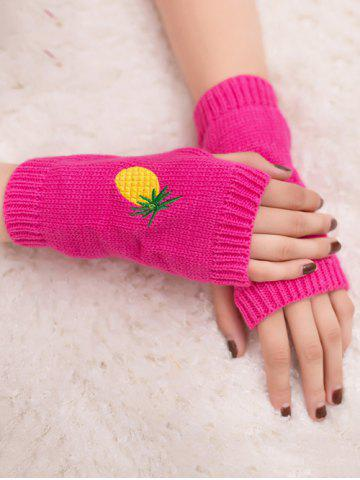 Buy Halloween Pineapple Embroidery Exposed Finger Knitted Gloves FLUORESCENT ROSE RED
