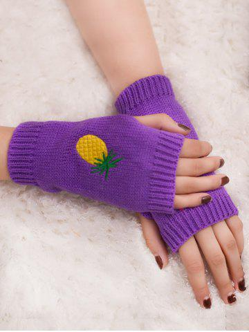 Discount Halloween Pineapple Embroidery Exposed Finger Knitted Gloves
