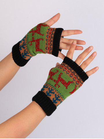Online Christmas Deer Decorated Flanging Fingerless Gloves