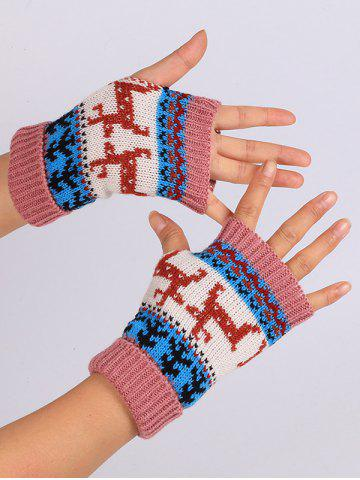 Fancy Christmas Deer Decorated Flanging Fingerless Gloves - PEONY PINK  Mobile