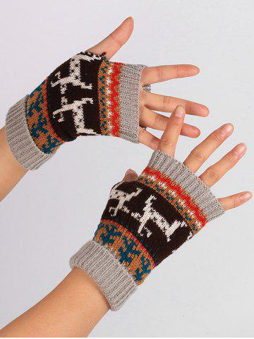 Chic Christmas Deer Decorated Flanging Fingerless Gloves - LIGHT GRAY  Mobile
