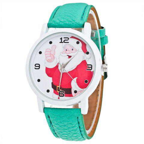 Online Christmas Santa Claus Face Quartz Watch - GREEN  Mobile
