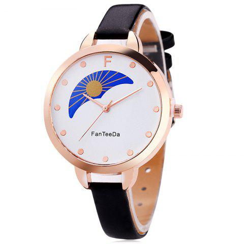 Faux Leather Strap F Letter Watch analogique