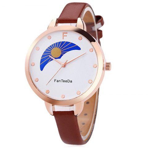 Buy Faux Leather Strap F Letter Analog Watch - BROWN  Mobile