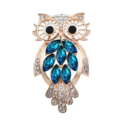 New Faux Crystal Rhinestone Owl Brooch - BLUE AND GOLDEN  Mobile