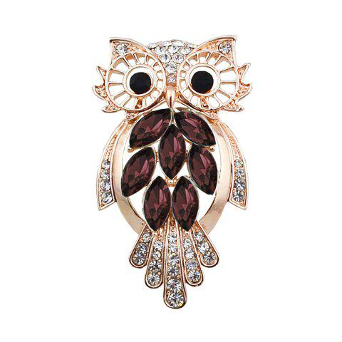 New Faux Crystal Rhinestone Owl Brooch