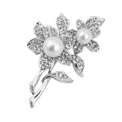 Online Flower Pattern Fake Pearl Brooch