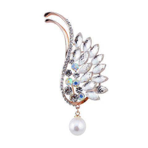 Unique Sparkly Rhinestoned Faux Pearl Wing Brooch