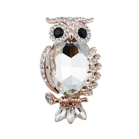 Shop Sparkly Rhinestoned Faux Gem Owl Brooch WHITE