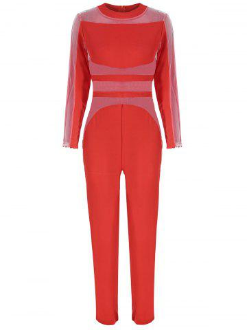 New See Thru Mesh Panel Long Sleeve Jumpsuit - S RED Mobile