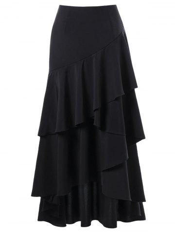 Unique Martina Flounced Maxi Skirt BLACK M