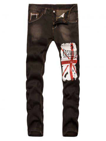 Sale Straight Leg Bleach Patriotic Print Jeans BROWN 30