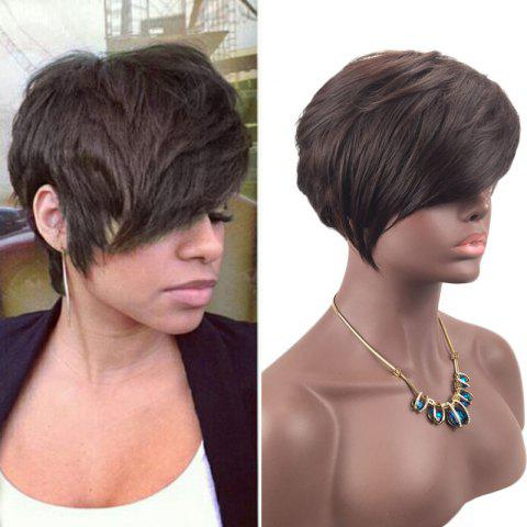 Online Short Inclined Fringe Layered Straight Synthetic Wig BROWN