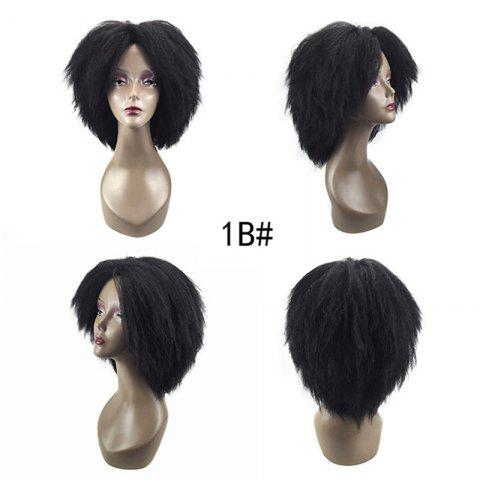 Store Medium Center Parting Fluffy Kinky Straight Synthetic Wig - BLACK  Mobile
