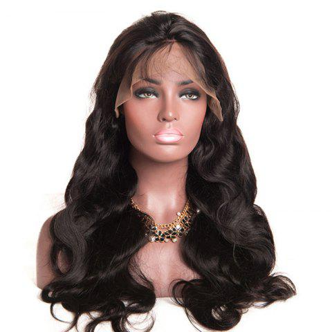 Outfits Free Part Bouffant Long Body Wave Lace Front Synthetic Wig NATURAL BLACK