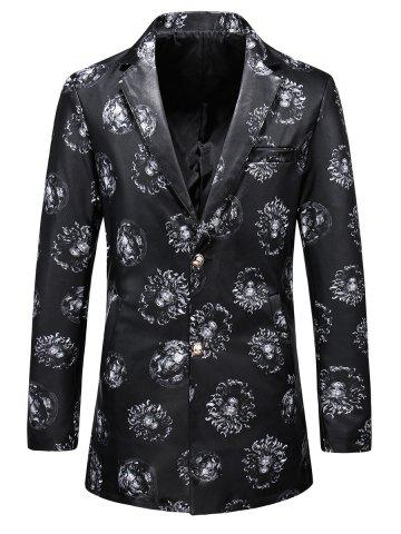Hot All Over Printed Faux Leather Blazer - XL BLACK Mobile