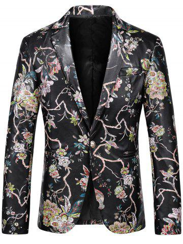 Sale One Button Floral Faux Leather Blazer - XL BLACK Mobile
