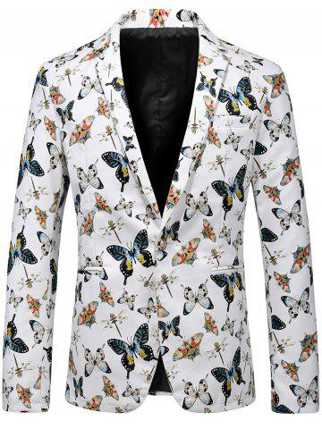 Best Butterfly Print One Button Faux Leather Blazer WHITE 2XL