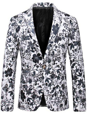 Lapel One Button Floral Faux Leather Blazer Blanc 2XL