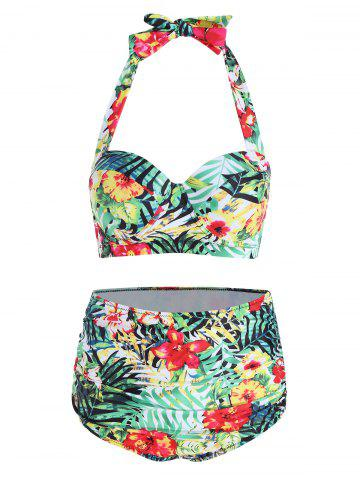 Affordable Tropical Floral Plus Size Bikini Set COLORMIX 2XL