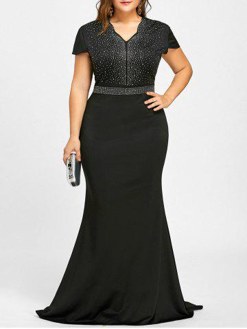 Online Rhinestone Maxi Plus Size Formal Dress