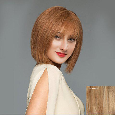 Trendy Short See-through Fringe Straight Blunt Bob Human Hair Wig BLONDE