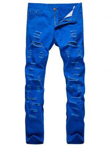 Buy Distressed Zipper Fly Straight Leg Pants - 2XL ROYAL Mobile