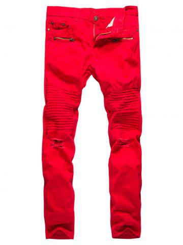 Discount Straight Leg Pleat Distressed Biker Pants - 2XL RED Mobile