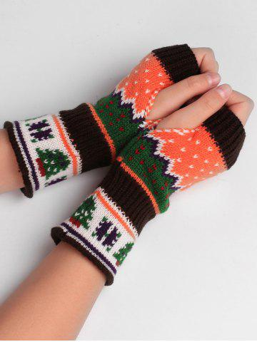Outfits Christmas Tree Crochet Knitted Exposed Finger Gloves
