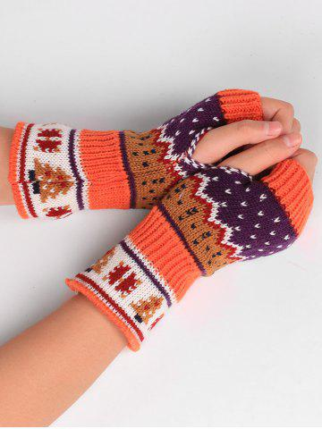 Outfit Christmas Tree Crochet Knitted Exposed Finger Gloves MANDARIN