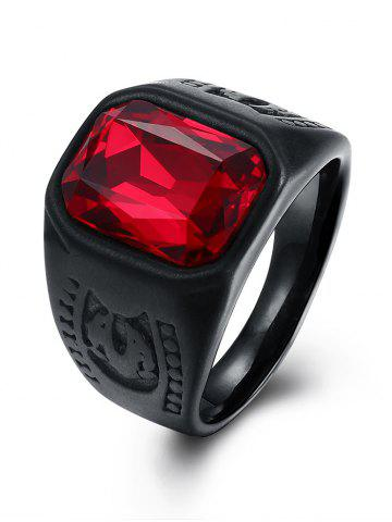 Hot Vintage Alloy Faux Ruby Geometric Finger Ring BLACK 8