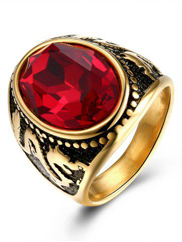 Faux Ruby Engraved Dragon Oval Vintage Ring Or 9