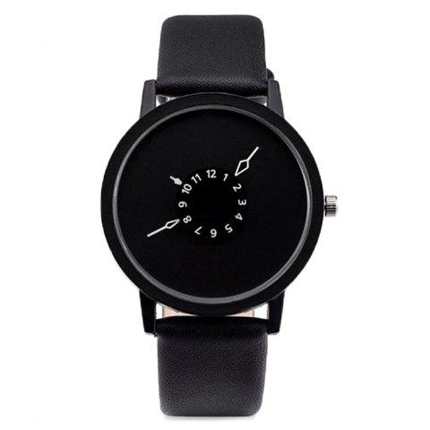 Outfit Faux Leather Strap Number Round Watch