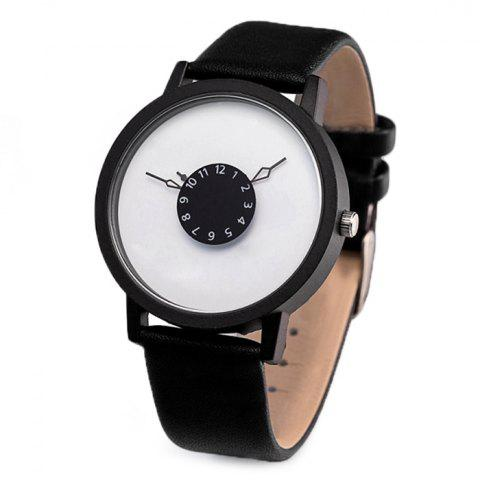 Faux Leather Strap Number Round Watch
