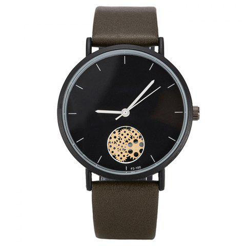 Hot Faux Leather Strap Gear Pattern Quartz Watch
